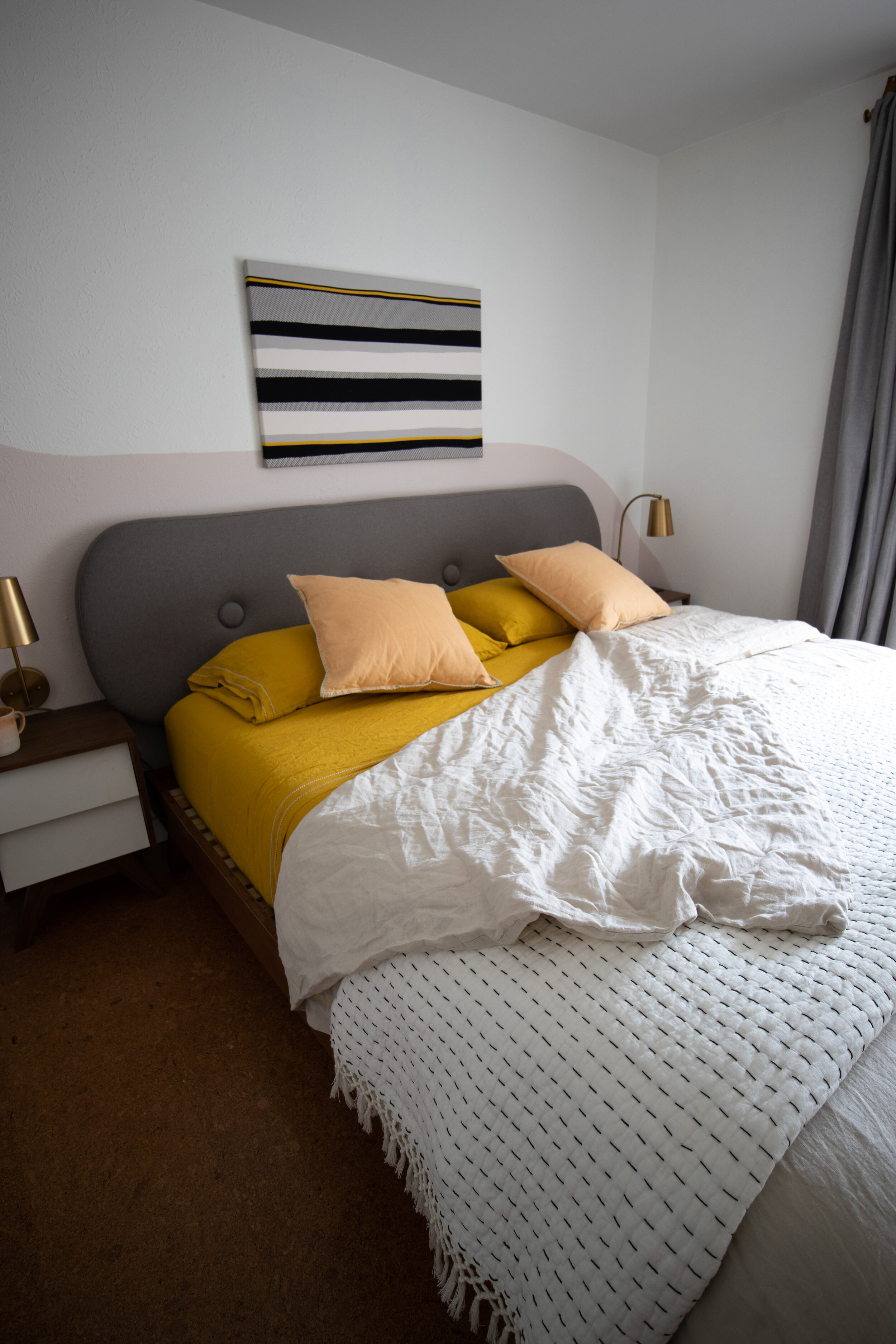 Makeover bedroom wall mural yellow sheets.JPG