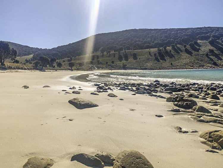 Beach at Garden Cove, which has a freshwater creek running down into it
