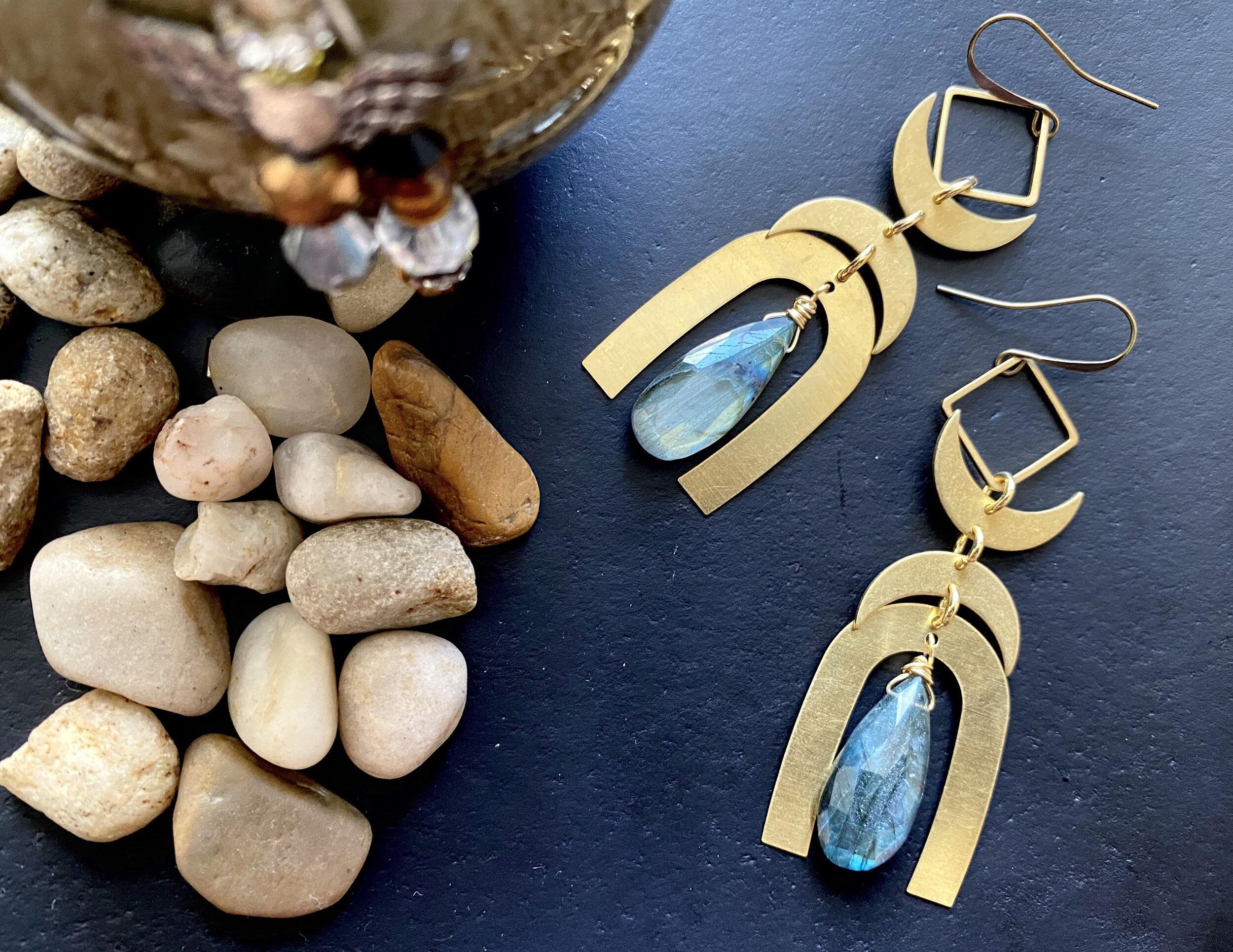 Labradorite Earrings  Gold Statement Earrings  hammered brass Labradorite Earrings moon earrings