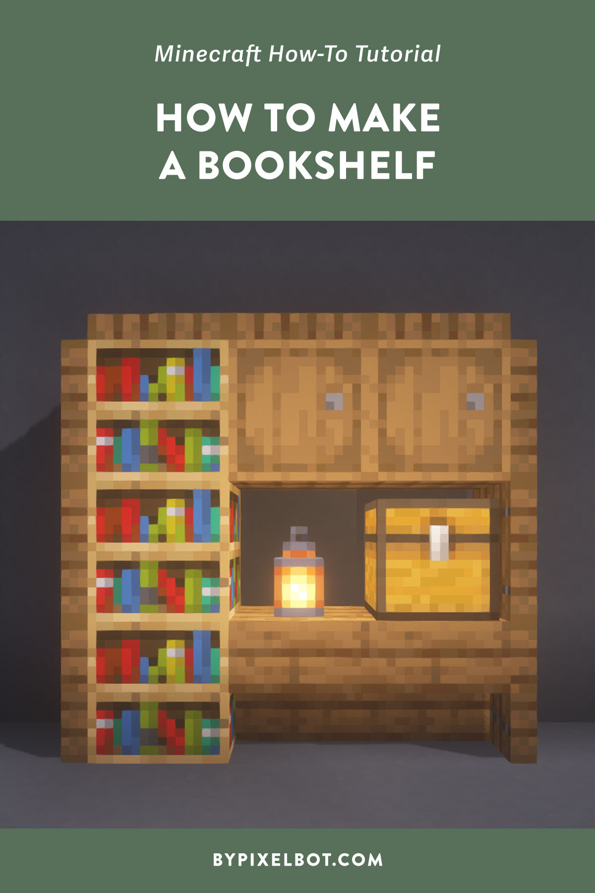 How to Make a Bookshelf in Minecraft Easy Step by Step — ByPixelbot
