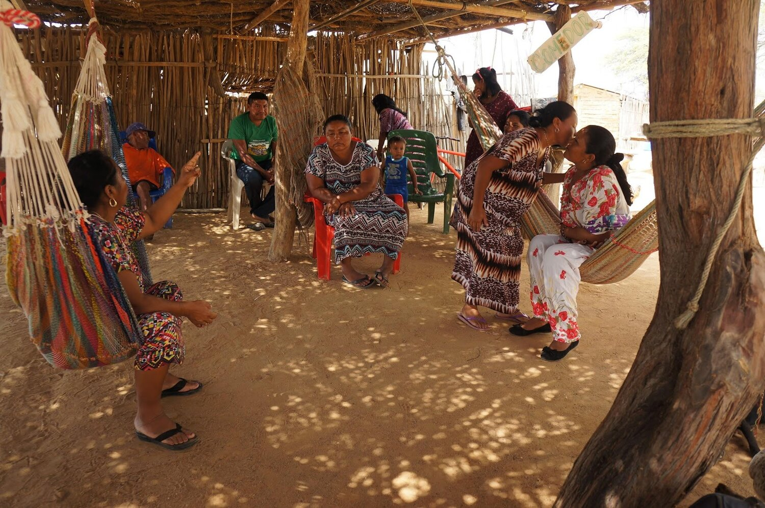 The Wayuu live and sleep in communal spaces within their rancherias. La Guajira, Colombia. Photo by D.H. Rasolt.