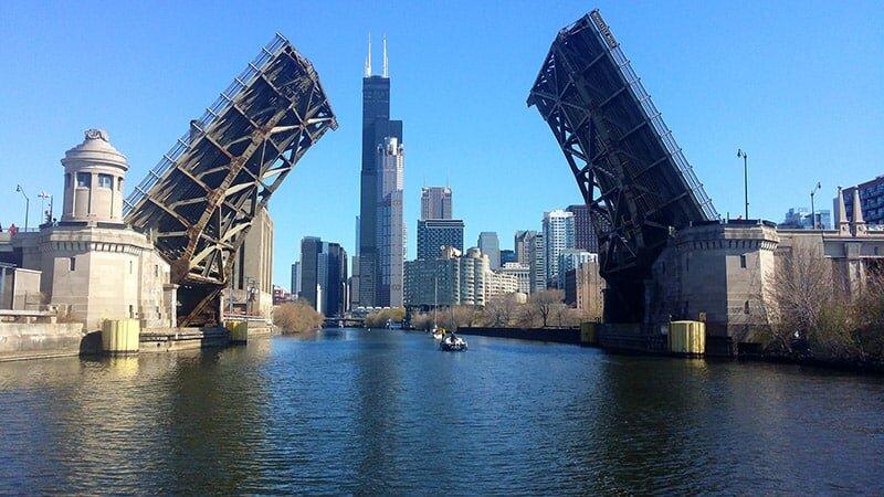 Raised Bridge in Chicago