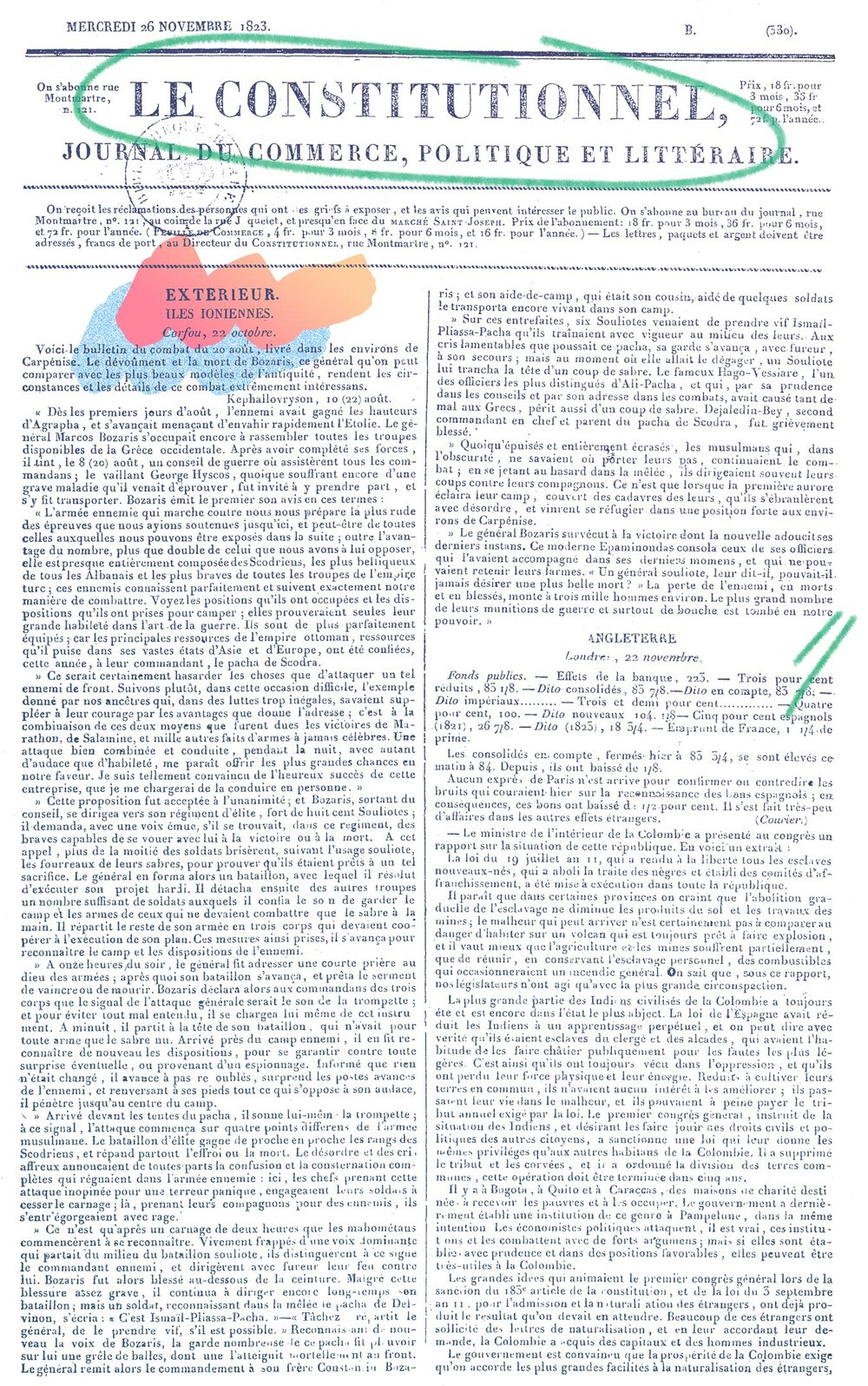 Le Constitutionnel , 26 Νοεμβρίου 1823 - πηγή: RetroNews-BnF