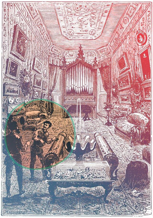 Το εσωτερικό του Ναυτίλου. Χαρακτικό των Alphonse de Neuville και Edouard Riou, 1871 - πηγή: Wikimedia Commons