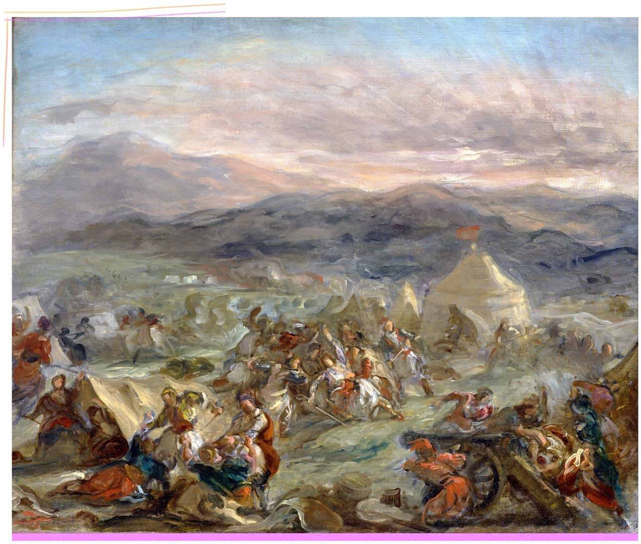 Ο Μπότσαρης αιφνιδιάζει το στρατόπεδο των Τούρκων και πληγώνεται θανάσιμα, του Eugène Delacroix, 1860-1862 - πηγή: Wikimedia Commons