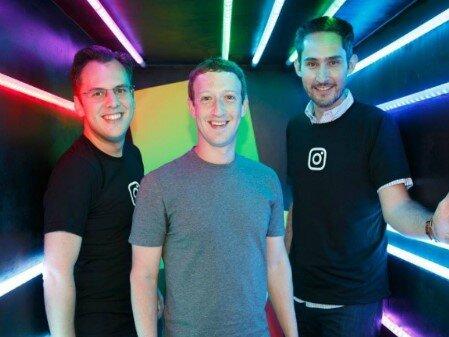 2016年6月にMAUが5億人を突破したころの、左からマイク・クリーガー氏、マーク・ザッカーバーグ氏、ケビン・シストロム氏