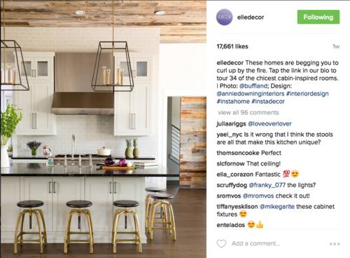 #interiordesign #instahome #instadecor のハッシュタグがついたElle Decorのポスト。 コメント欄にてコミュニケーションをとっていたり、この写真が好きそうな友人をタグ付けして拡散している様子が見られる。