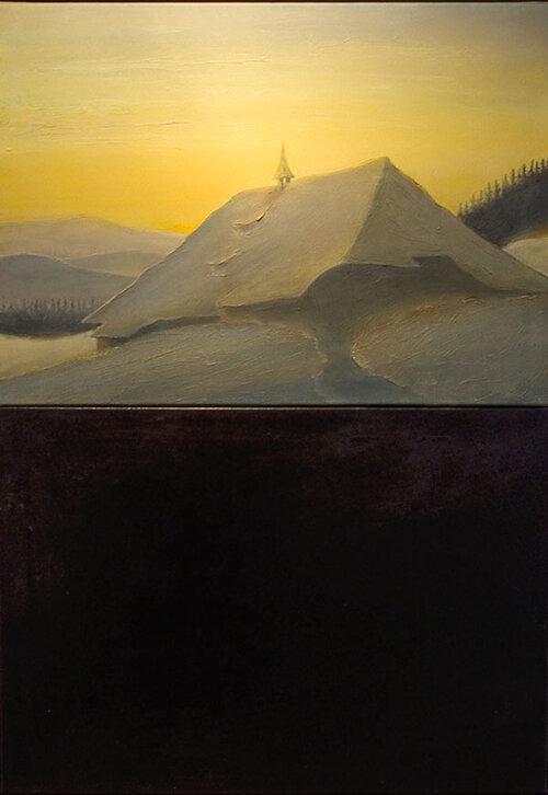 Hof | 2008 / 2009 | 2-teilig je 50 x 70 cm | Oberteil: Öl auf Leinwand; Unterteil: Öl, Bitumen, Wachs auf Leinwand
