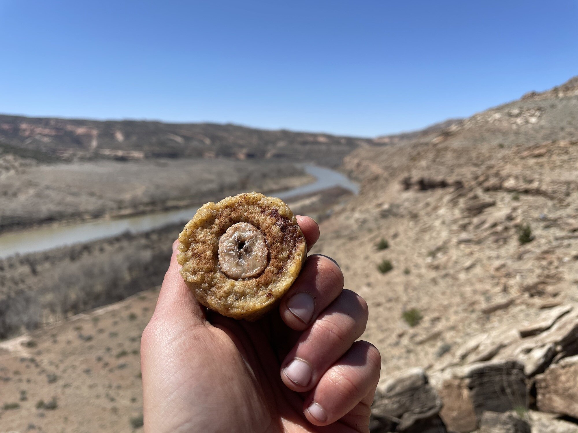 Banana Rice Muffin with Colorado River in background