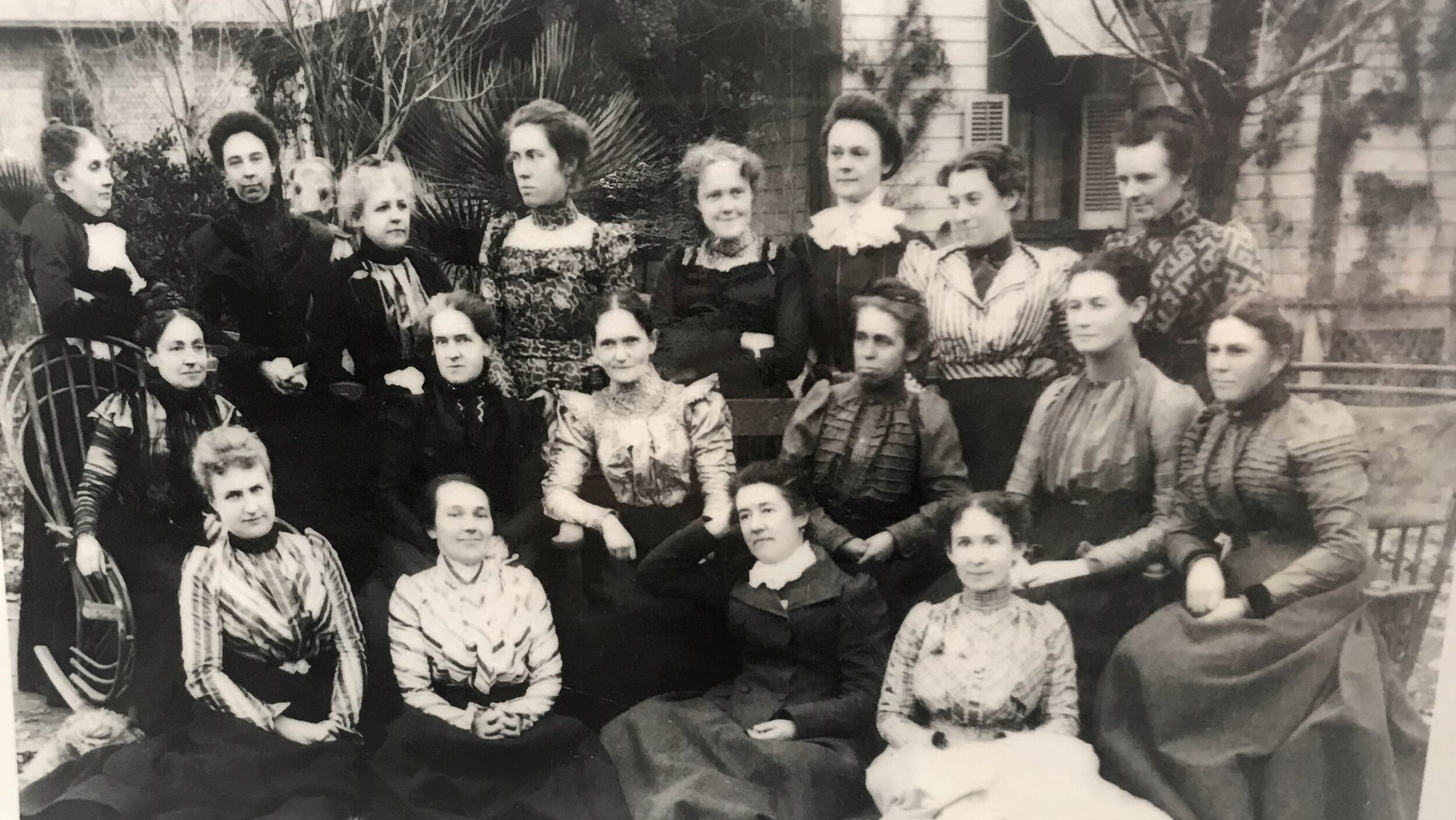 First executive board of The Woman's Club of Bakersfield, 1896. Virginia Harrell, wife of Alfred Harrell, is pictured in the middle row, second from the right.