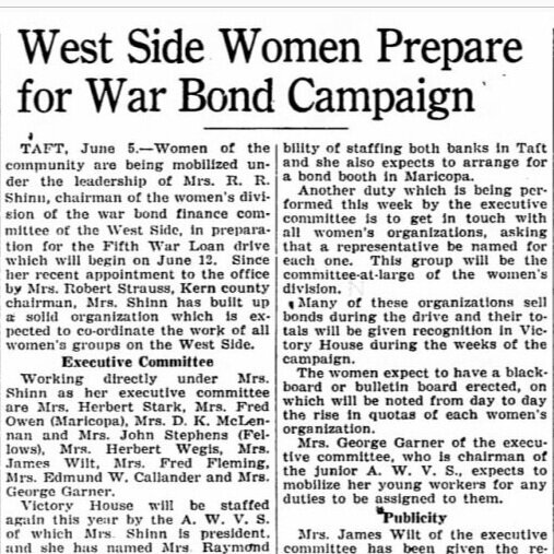 This 1944 article from the Californian shows the active role women took in the community, particularly during the war years.