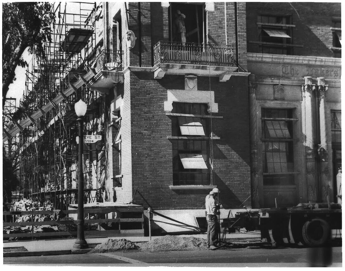 Post-Earthquake alterations made to reinforce the exterior walls. Photo taken approx. 1952-53 by an unknown photographer, Southeast view.