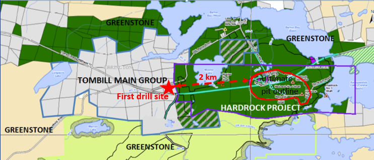 Geraldton Gold Camp.     Source: Greenstone, 06/28/19. The blue boundary marks the Tombill Main Group. The purple marks the Hardrock Project, owned by Greenstone. The striped portions mark mineral rights owned by Tombill, surface rights owned by Greenstone.