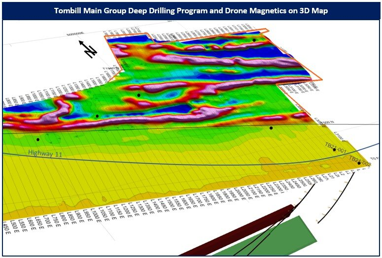 Figure 2: A 3D map of deep drill hole traces with new drone magnetics survey, NE part of the property.