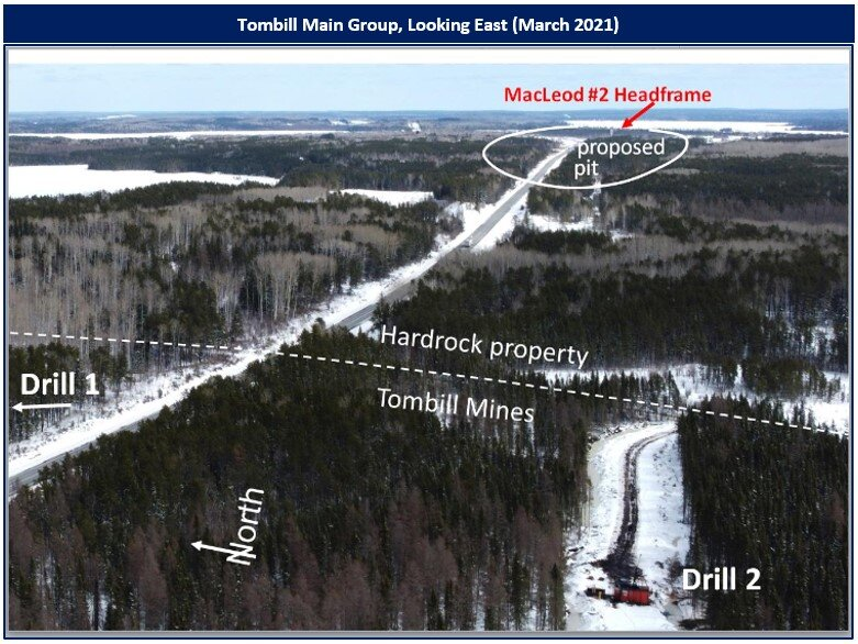 Figure 1: Aerial photo of drill at Tombill, looking east, March 2021