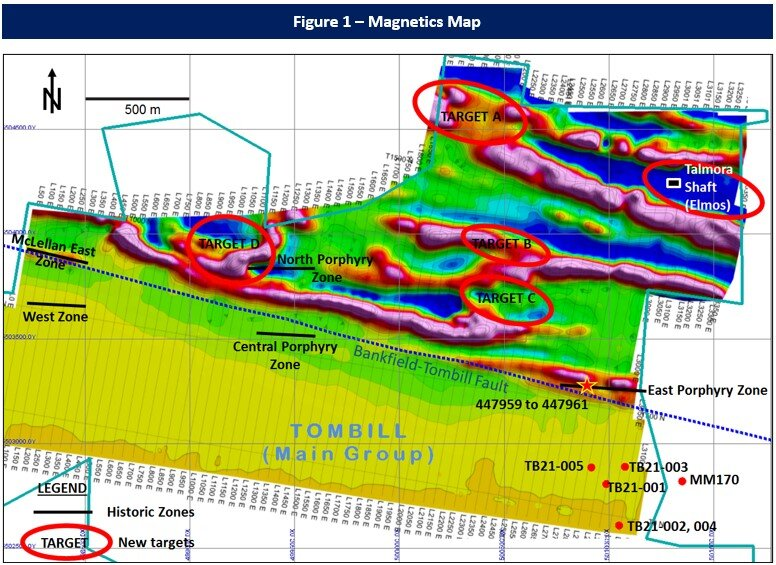 Magnetics map of first-vertical derivative from UAV-MAG Survey in 2021, with Tombill's drill collars from Deep Exploration Program, together with historic gold zones and new targets.