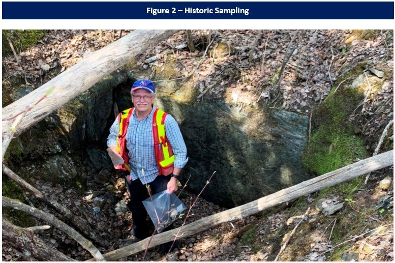 First sampling of historic trench in East Porphyry Zone, in May 2021.