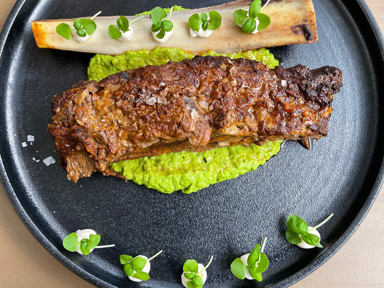 Next to arrive was the braised short rib served with pea, ginger and wasabi puree. The short rib was braised to be fork tender and the pea puree had balanced flavors. This dish was very tasty overall and had a bit of adobo likeness to it for my palette.