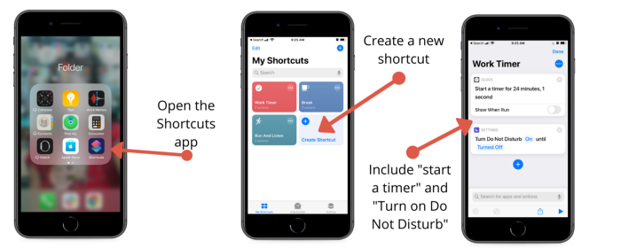 """Tip #2 — Use Apple Shortcuts to trigger a timer with the """"Do Not Disturb"""" mode set. Screenshot by the author."""