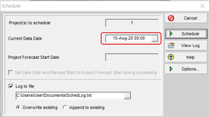 Data date start time