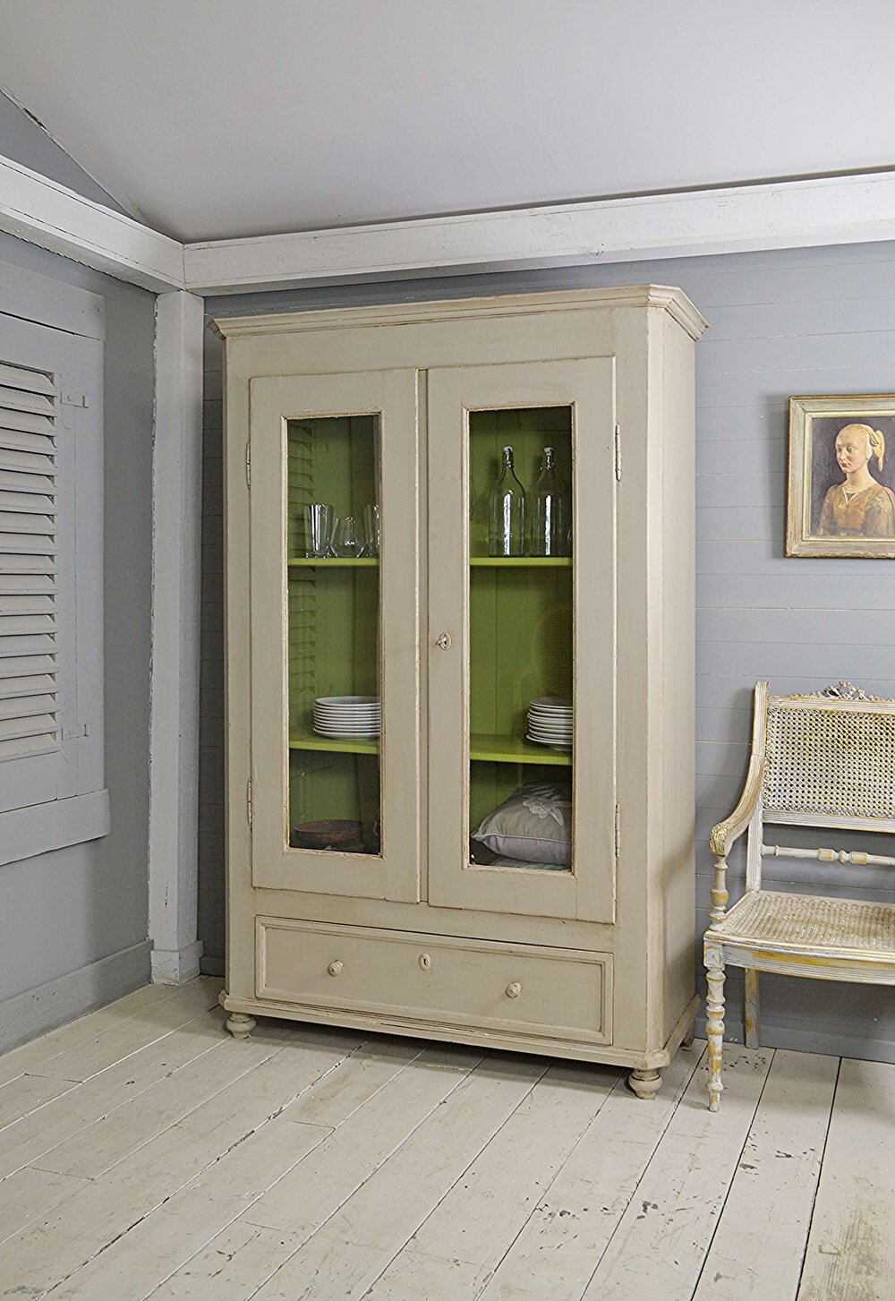 Large Rustic Danish Vintage Linen Cupboard   The Treasure Trove   in Sussex    Shabby Chic Furniture   Vintage Furniture