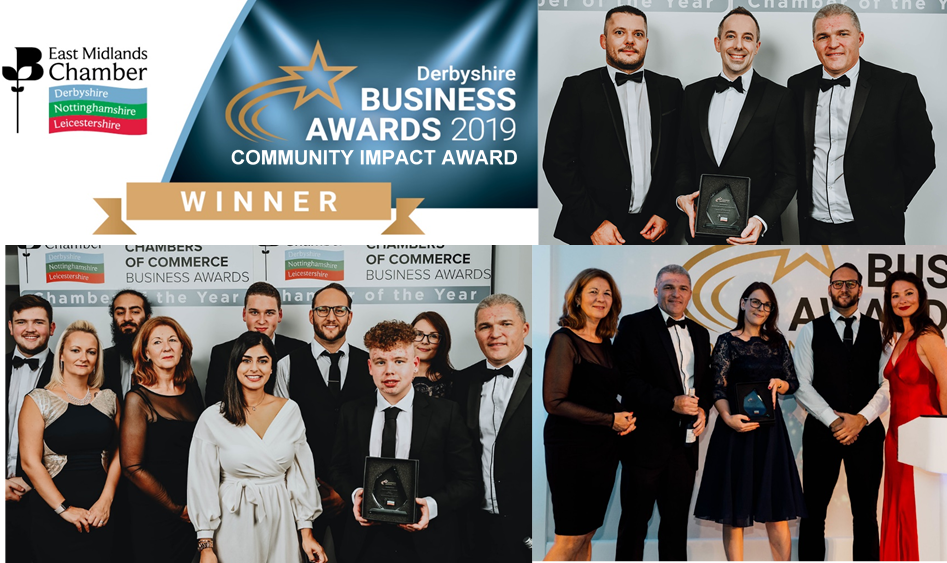 Community Impact Award. - In 2019, RDS was proudly awarded the Community Impact Award at the East Midlands Chamber of Commerce's Derbyshire Business Awards.This award is given to businesses that have demonstrated exceptional efforts to positively impact local communities. RDS Global was awarded it for our work with Derby College, training and preparing the future workforce via our Technical Employer Academy.