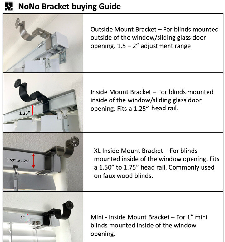 NoNo Bracket Inside Mounted Blinds Curtain Rod Bracket Attachment