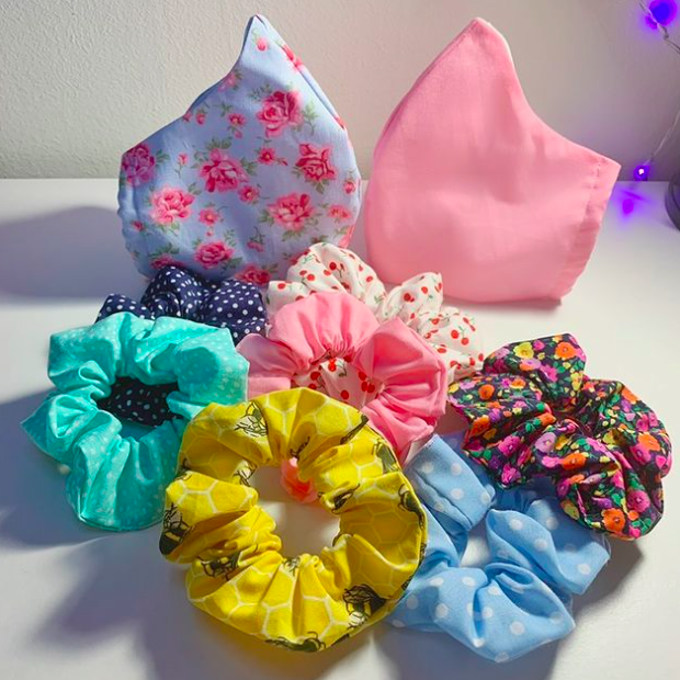 Handmade gifts Recycled materials Gifts under 10 Zero waste Handmade Scrunchie Upcycled Eco conscious fashion Hair accessories.