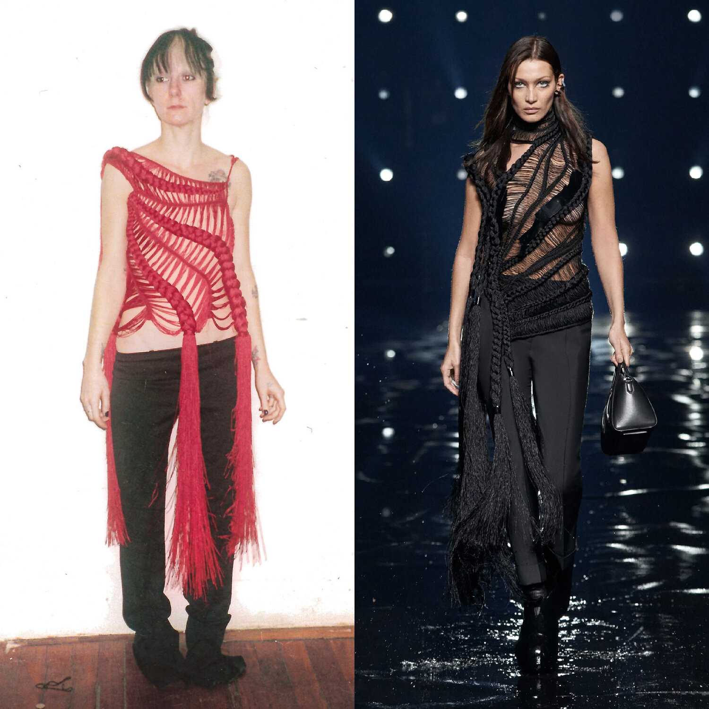 Benjamin Cho Spring/Summer 2001 vs. Givenchy Fall 2021 by Matthew Williams.  Images via Cathy Cho and Vogue Runway c/o Givenchy.