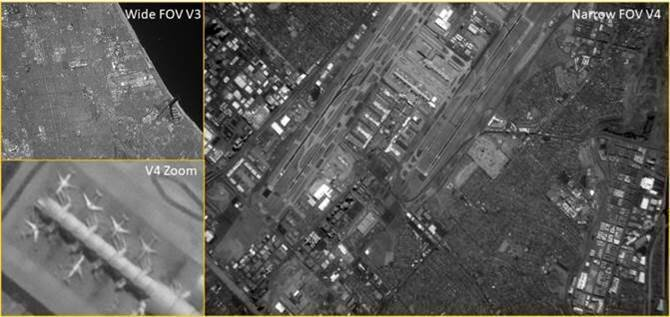 Figure 1. GEOStare2's Narrow field-of-view (FOV) imager is intended primarily for Earth Observation. Narrow, Wide and V4 Zoom FOV (field of view) image of Los Angeles International Airport area. At this level of resolution, individual aircraft on the tarmac are easily resolved.