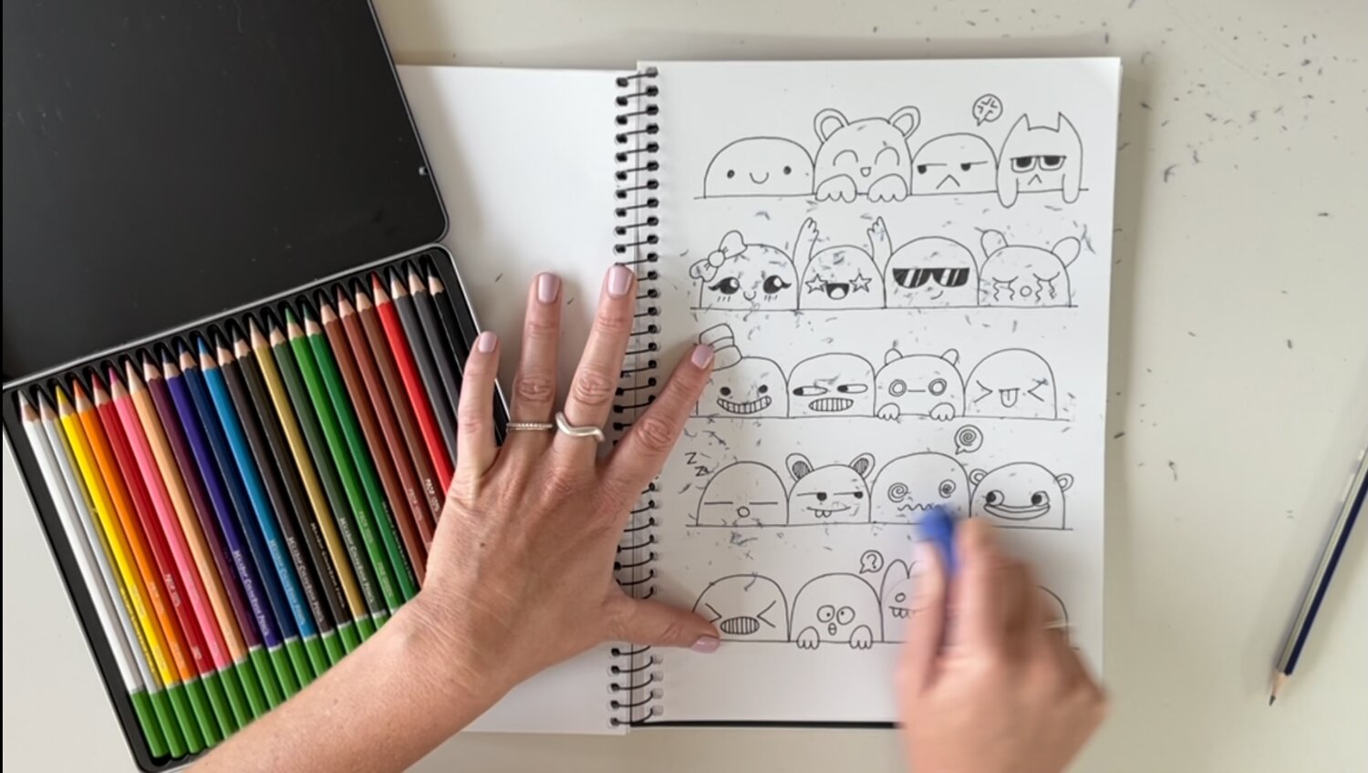 Your characters will be all be looking awesome with their fineliner on! Make sure you erase ALL of your guidelines before colouring them in.