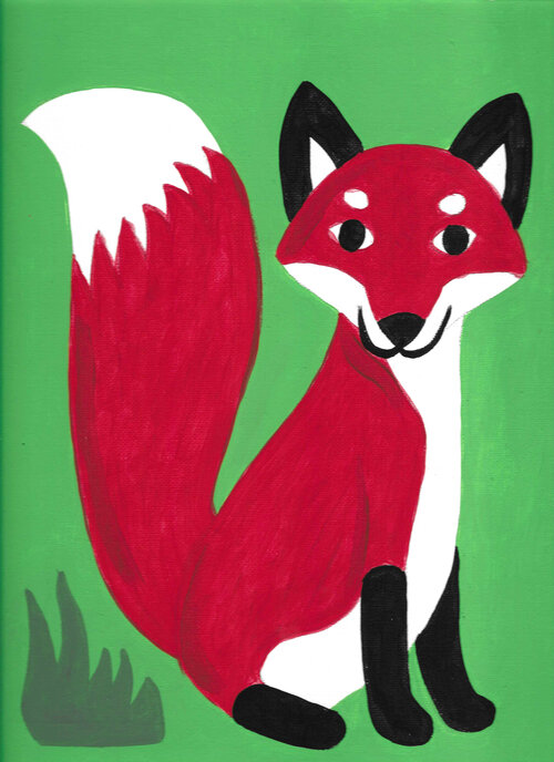Fox painting on canvas