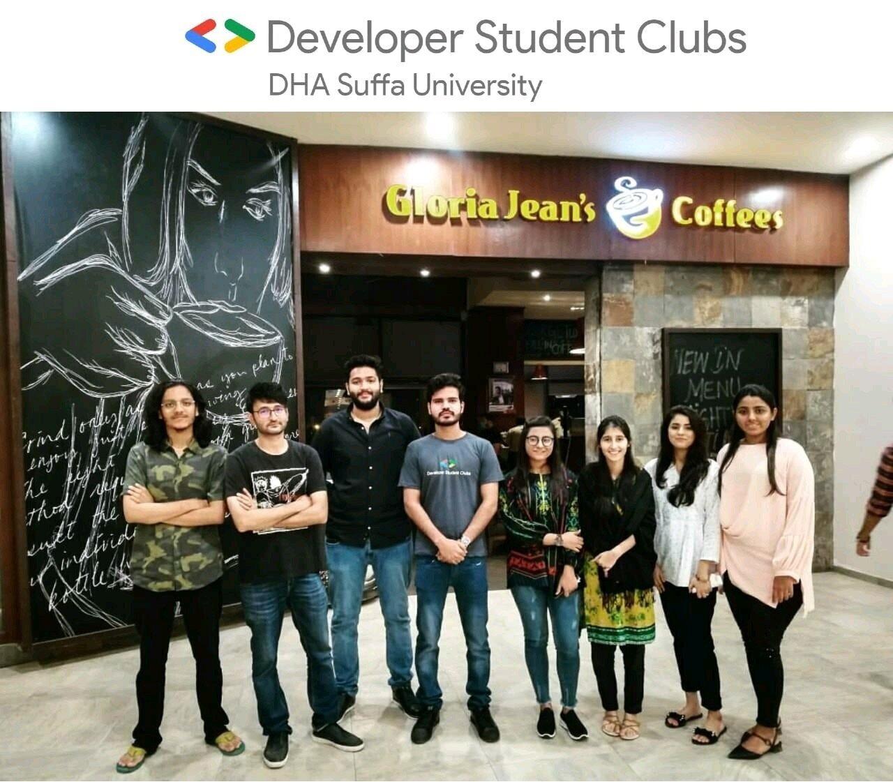 GDSC@DSU Core Team (left-to-right): Tarun Kumar, Shaham Mahmood, Abeer Shaikh,    Syed Ateeq (GDSC Lead)   , Sarah Nasir, Amina Kazim, Nimra Nasir, Muskan Halani. Not pictured: Alishan, Bahawal, Abdul Rauf Bughio, and Shifali.