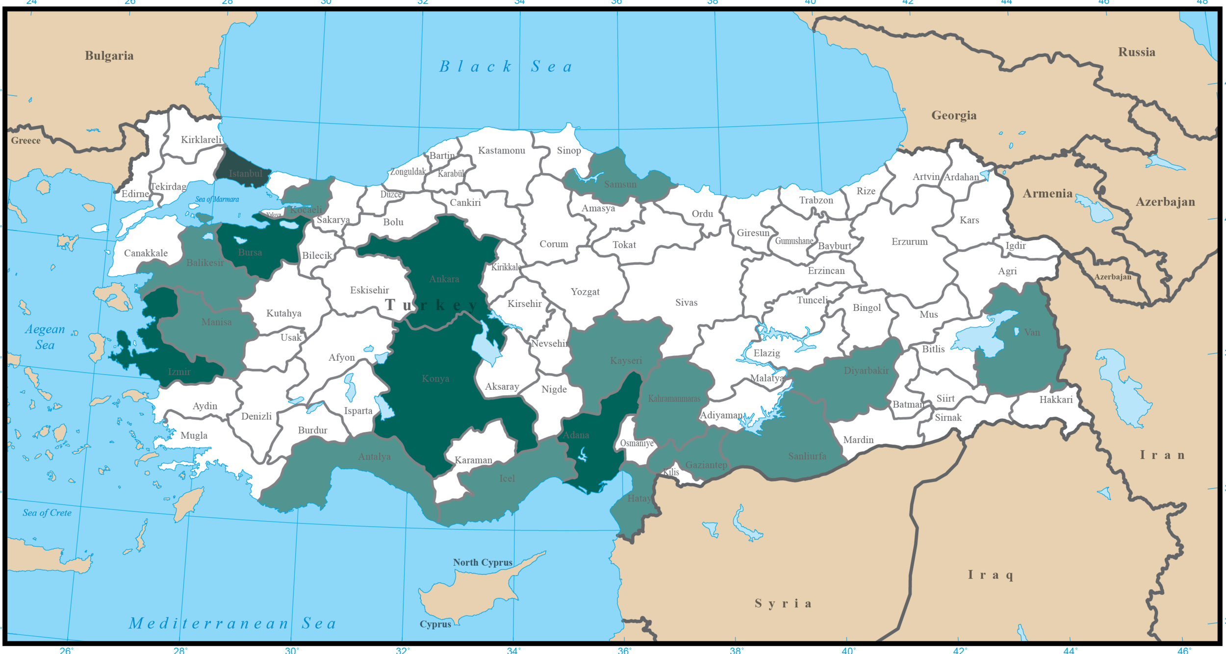 Map 1. Population by Province.  White: Under 1 million. Light green, over 1 million. Medium green, over 2 million. Dark green (1 province, Istanbul): over 10 million.  Over 20% of Turkey's population is in the small northwest province of Istanbul .