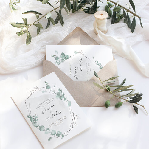 'Arwen' by Papeteree A semi-custom suite featuring hand-drawn watercolour eucalyptus and calligraphy