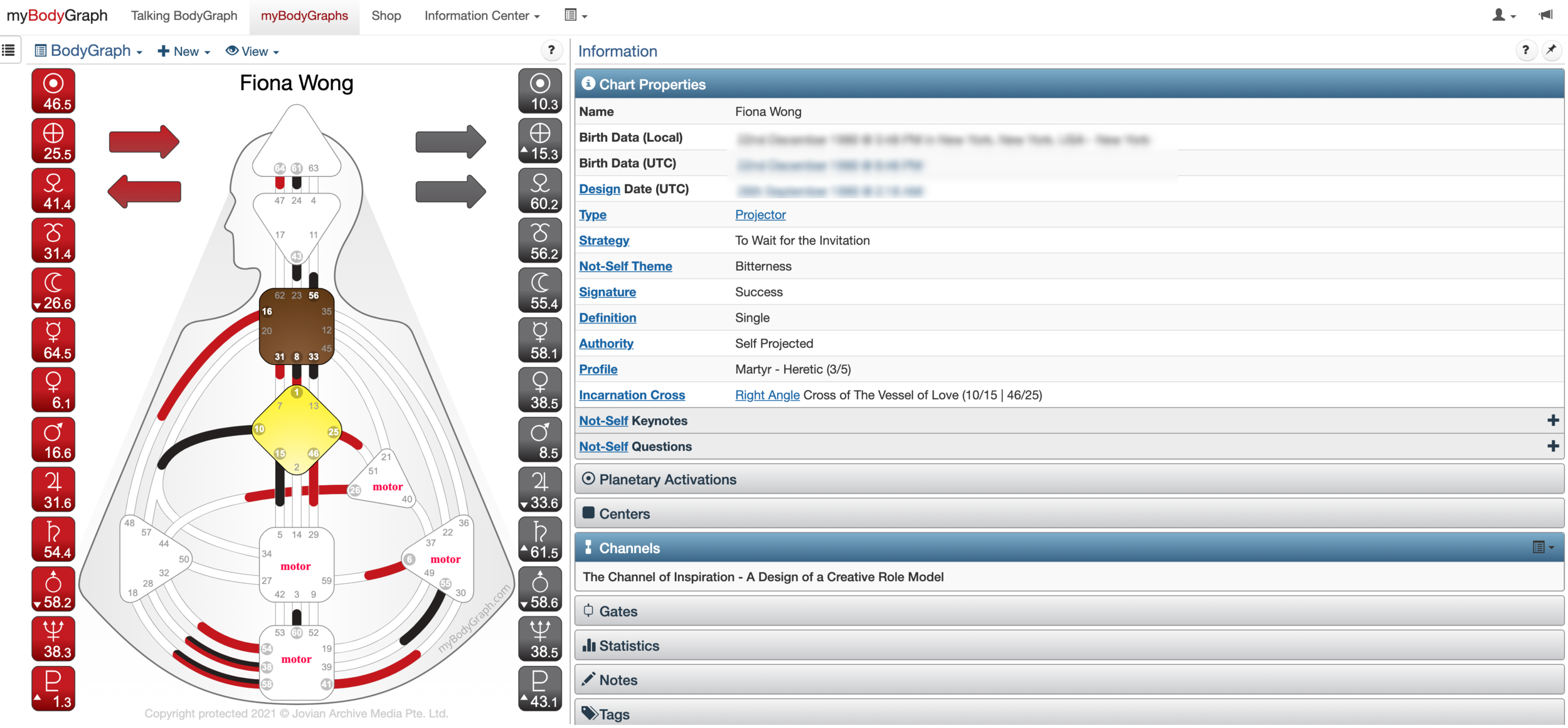 Projector Profile Human Design Chart