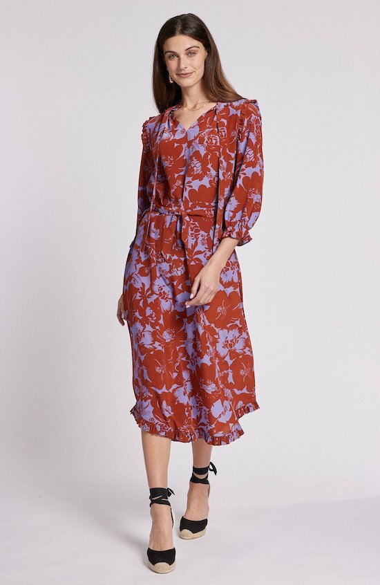 Ohara Silk Hibiscus Midi Dress, $255.00