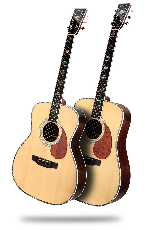 致敬經典工藝 - T10是恩雅全豐產線第一款高端原聲吉他產品,是一款秉持全豐制琴理念,向經典馬丁工藝致敬的作品我們采用了原聲吉他制造史上經典的外觀設計和木材配置,只求重現黃金年代的經典之聲