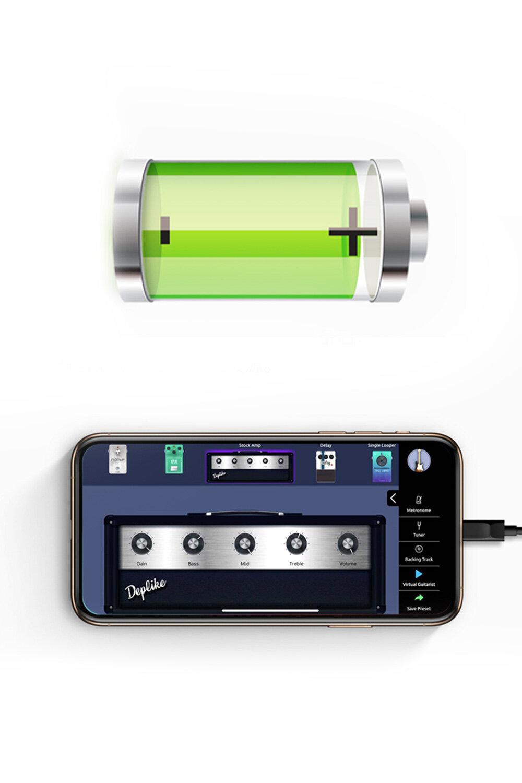 一次充電使用5小時 - ES1 搭載3400ma 大容量18650電池,?次充電可以使? 5 個?時,同時ES1還兼具?效拓展功能,通過自帶的音效?頻接?連接IOS設備后,你將擁有APP Store 上所有音效軟件上的音色資源為你的音樂提供更多的可能性