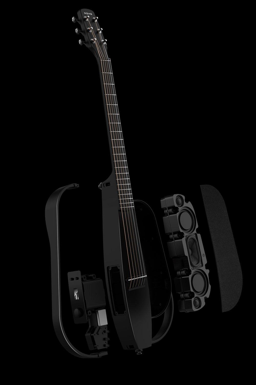 設計,妙的不同凡響 - 36英寸,靜音可拆卸結構設計,整琴均由聲學碳纖維制成,開創性的防嘯叫懸浮音腔,內嵌定制的超輕50W鋁磁喇叭,使得它成為全球首款僅3KG重量卻完美集成大功率音響的超便捷音響吉他,使得你隨時隨地可以用它來靜音練習、聽歌、唱歌、舉辦小型演出