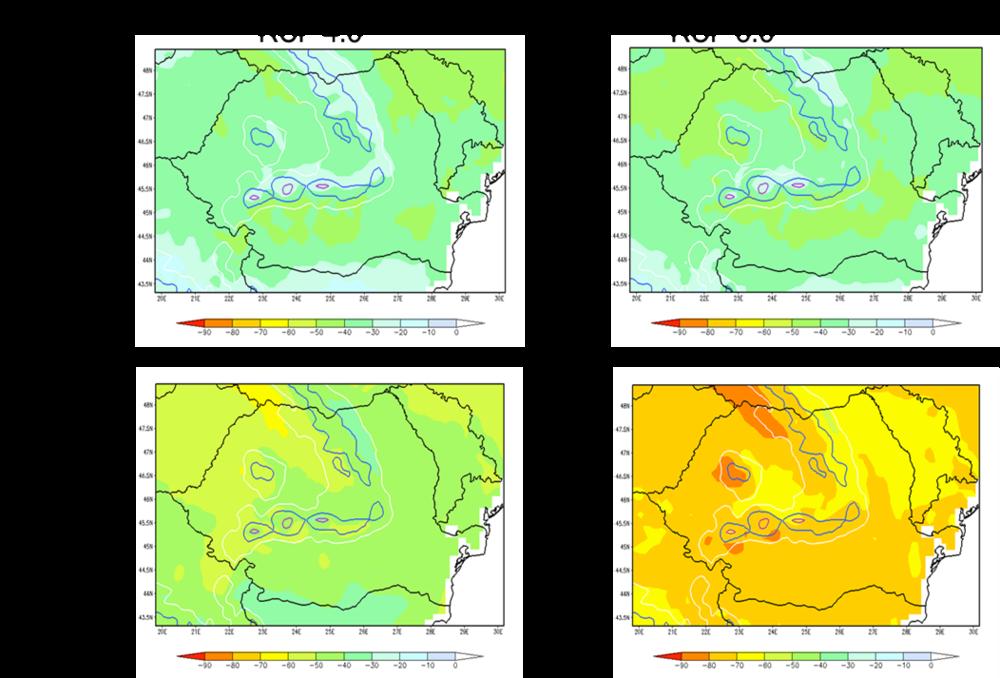 Reducerea grosimii stratului de zăpadă (în %) pentru diferite orizonturi de timp, în condițiile scenariului moderat (RCP 4.5) și pesimist (RCP 8.5). Dupa Bojariu și colab. (2015)