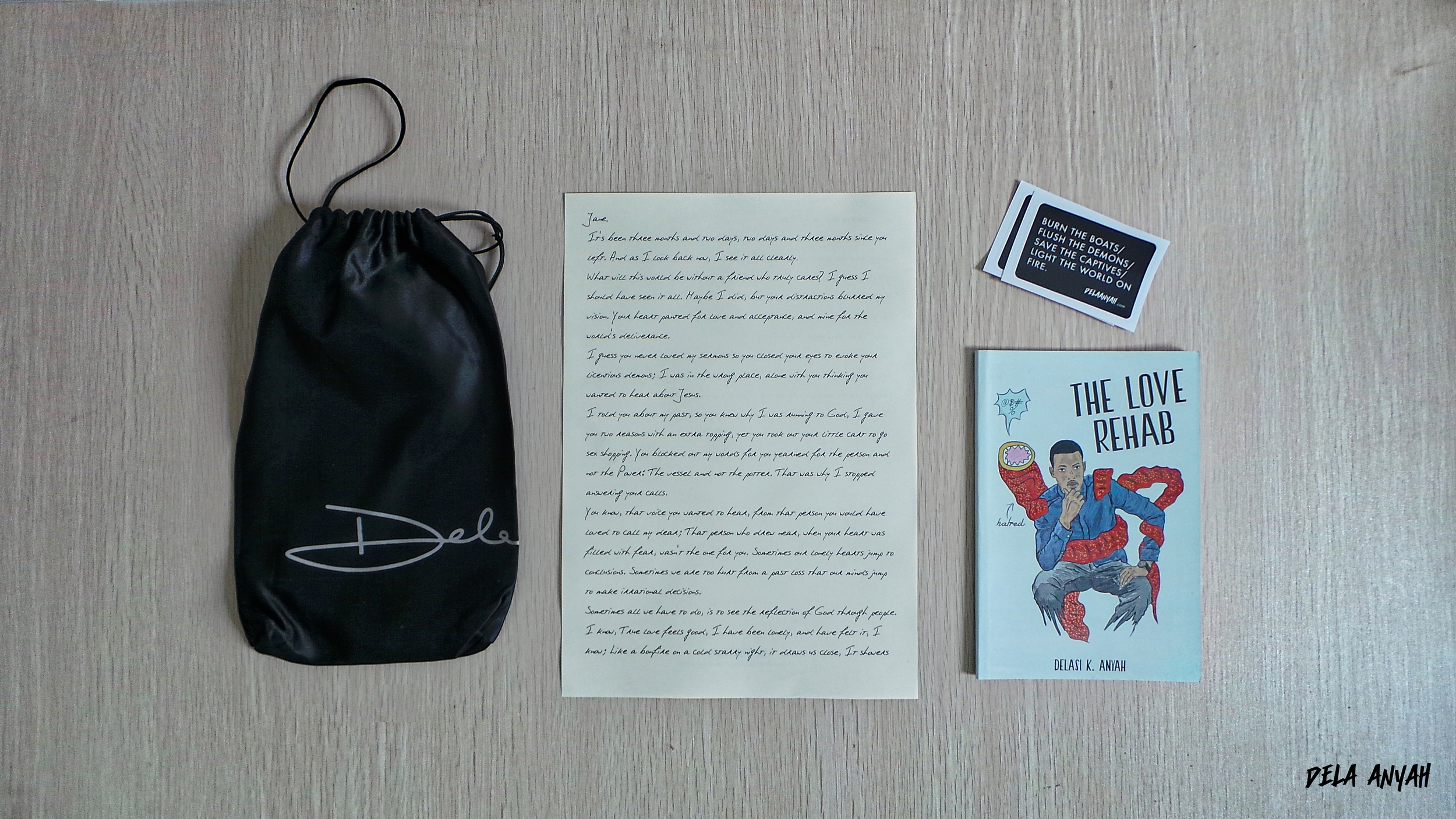 This package includes: The Love Rehab Book, two stickers and a letter to Jane (the protagonist) from her confidant.The Love Rehab is a poem that mainly centers ona cocotte named Jane;a member of a noxious cabal whose pursuit of freedom turned tragic after she severed ties with a fledgling preacher set out to rescue her. It's a short story filled with themes of religious conspiracy, a young adult's yearning for love and struggles with loneliness; vendetta against cocottes and sorceresses; drug overdose and death; the realities of Christian Evangelism, repentance and Jesus' Saving Grace and love for mankind.